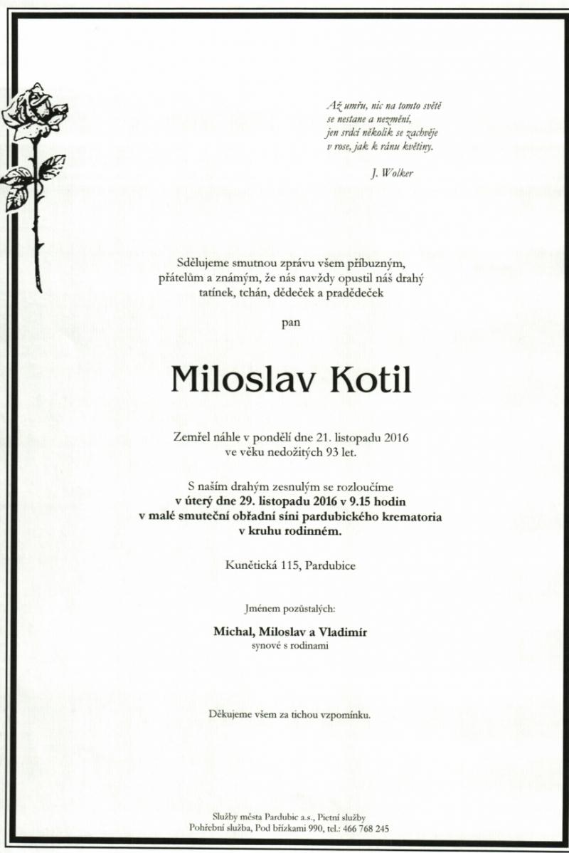 Zemřel Miloslav Kotil